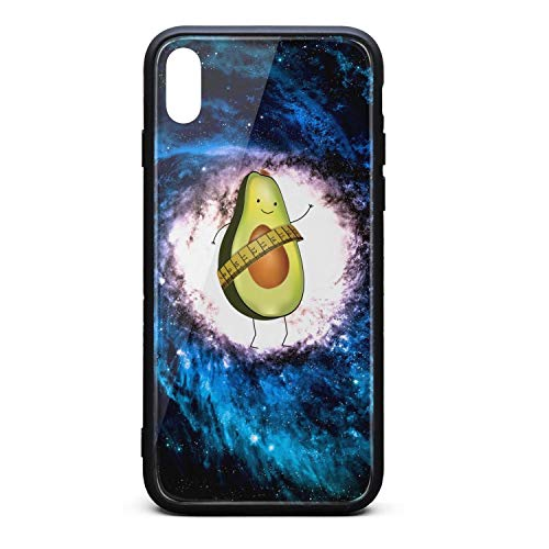 Hiunisyue iPhone Xs Max Case Avocado Care 9H Tempered Glass Back Cover Soft TPU Frame Scratch Resistant Shock Absorption Cover Case Compatible for iPhone Xs Max