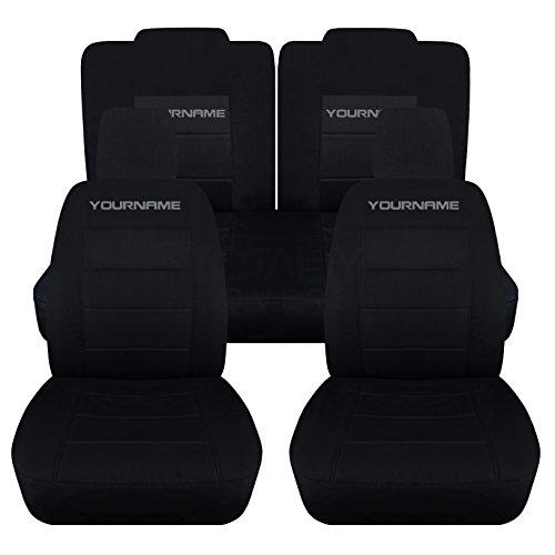 Totally Covers Fits 2005-2010 Ford Mustang Black Seat Covers with Your Name/Text: Black with Charcoal - Full Set (22 Colors) Coupe/Convertible V6/GT Solid/Split Bench 50/50 5th Gen 2006 2007 2008 2009