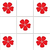 Vinylworld Poppies kitchen / bathroom wall tile decal stickers x12 (Cherry Red) by Vinylworld