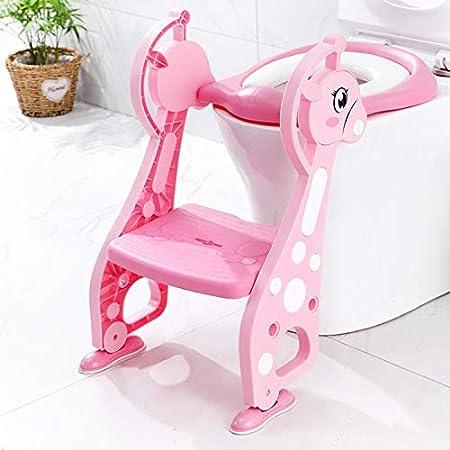 KJGFD Reductor WC niños Aseo Asiento con Escalera Orinales para niños Asiento para Inodoro de Bebe Orinal Infantil Formación Antideslizante, Plegable Altura Ajustable para 1-7 niños - Rosa,a: Amazon.es: Hogar