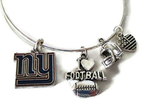 Ny Giants Charm Enamel (NEW YORK GIANTS COLOR 4-Charm Adjustable Bangle Bracelet)