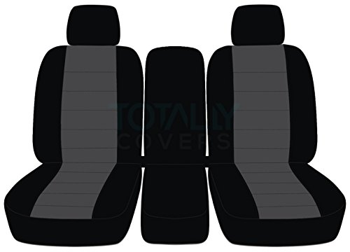 Totally Covers Fits 2009-2010 Ford F-150 Two-Tone Truck Seat Covers (Front 40/20/40 Split Bench) with 2 Headrests & Opening Center Console/Solid Armrest: Black & Charcoal (21 Colors) F-Series F150