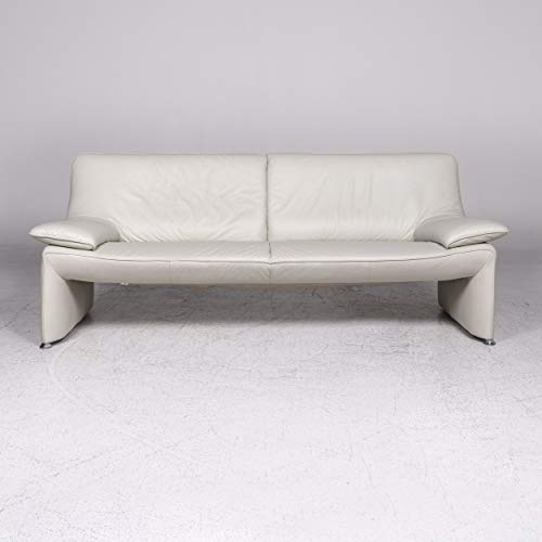 Laauser Flair Designer Leather Sofa Gray White Three-Seater Couch
