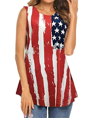 Tobrief Women's American Flag Sleeveless Tank Tops 4th of July Stripes Patriotic T Shirts (S, Red)