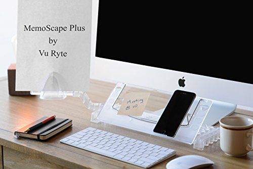 "Memoscape Plus, Personal Technology and Desk Organizer-Adjustable Ergonomic in-Line with Monitor Document Copy Holder Minimizing Head and Neck and Eye Movement, 12"" Wide, Clear- VUR 3000 (Adjustable Holder Document)"
