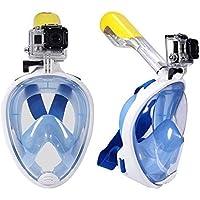 L size Anti fog Detachable dry snorkeling full face mask set scuba diving mask-BLUE