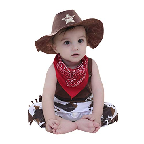 3Piece Toddler Baby Boys Western Cowboy Role Play Costume Romper Sets with Scarf and Hat (9-12 Months, Yellow)