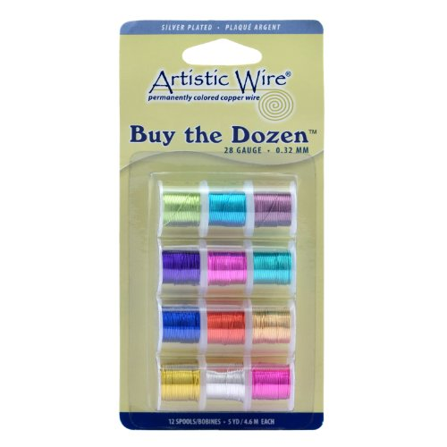 Silver Dozen Plated (Artistic Wire 28-Gauge Buy-The-Dozen, Various Silver Plated Colors, 12-Pack)