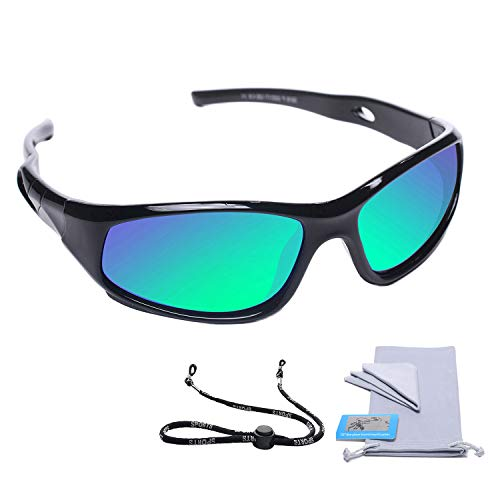 Kids Sunglasses (AODUOKE Sports PolarizKids Sunglasses For Boys Girls Children Youth Sunglasses With Strap (Black | Green Lens))