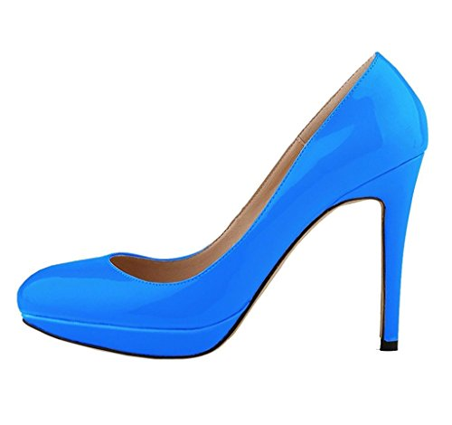 shiybugou Womens Elegant Pure Color Shallow Mouth Slip On Round Toe Stiletto High Heel Pump Shoes Blue37 M EU / 7 B(M) US attractive - Airport Singapore Images