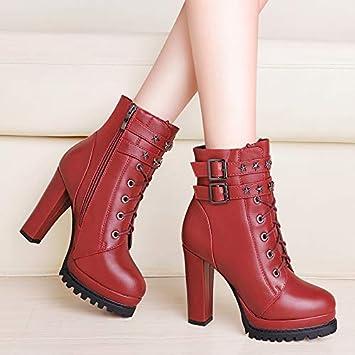 Shukun Botines Martin Botas para Mujer otoño Salvaje Primavera y otoño e Invierno Botas para Mujer tacón Alto Zapatos para Mujer Botas, 40, ...