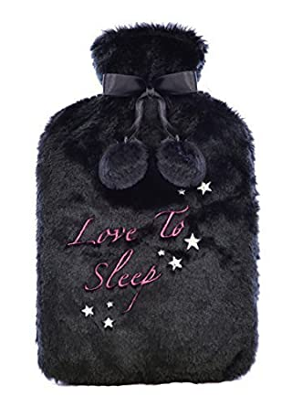 Hot Water Bottle With Soft Plush Fur Knitted Fleece Removable Cover With Free Pair of Skechers Socks