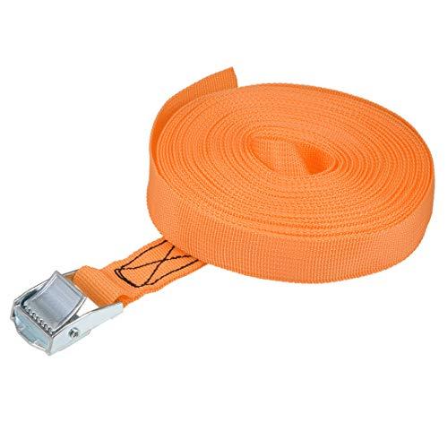 uxcell 荷物ストラップ ラチェット式 ベルト 荷物固定ロープ 荷物落下防止 オレンジ ポリプロピレン 亜鉛合金 カムバックル付き 250Kg作業負荷 10Mx25mm