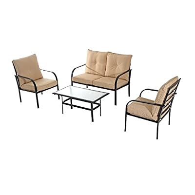 Outsunny 4 Piece Outdoor Metal Patio Conversation Lounge Set - Beige - ✅Outdoor conversation set with table, two chairs and a loveseat for entertaining ✅Weather-resistant upholstery with solid steel frames for years of use ✅Extra-padded cushions for superior comfort when sitting - patio-furniture, patio, conversation-sets - 41y5hqMT7eL. SS400  -