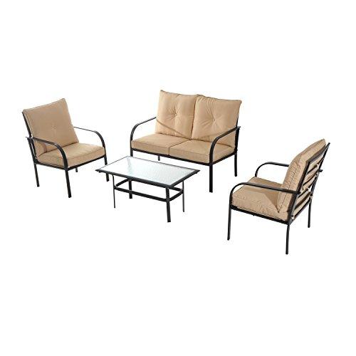 41y5hqMT7eL - Outsunny 4 Piece Outdoor Metal Patio Conversation Lounge Set - Beige