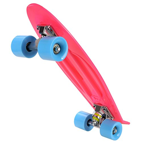 Ancheer Mini Complete Skateboard Plastic Cruiser Board Trucks 22 Inches Pink