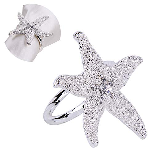 JINHAICHU Starfish Silver Napkin Rings Set of 4 Table Modern Napkin Rings Metal Napkin Rings Rhinestone Napkin Rings for Wedding Party Table Decor Hotel or Gift ()