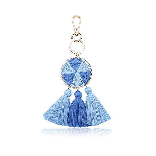 Tassel Pom Pom Key Chain Colorful Boho Charm Key Ring, Fashion Accessories for Women (N4)