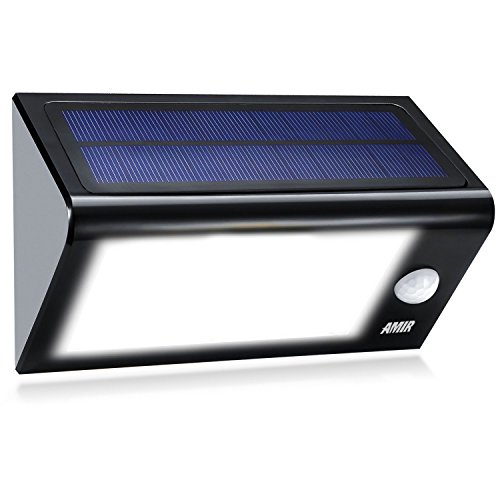 [24 Bright Nodes] LED Solar Lights, Amir® 3 in 1 Solar Powered Motion Sensor Lights, Solar Energy Led Security Lights with 4 Modes, Waterproof & Auto On/Off, Motion Sensor Light Outdoor for Patio, Deck, Yard, Garden, Home, Driveway, Stairs, Outside Wall