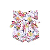 NUWFOR Toddler Baby Boys Girls Sleeveless Bow-Knot Flower Print Romper Jumpsuit (White,18-24Months)