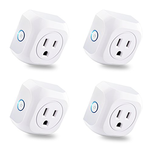 KOOTION 4 Pack Wifi Smart Plug Mini Outlet with Energy Monitoring, Compatible with Alexa Echo and Google Assistant, No Hub Required, ETL Listed, White by KOOTION