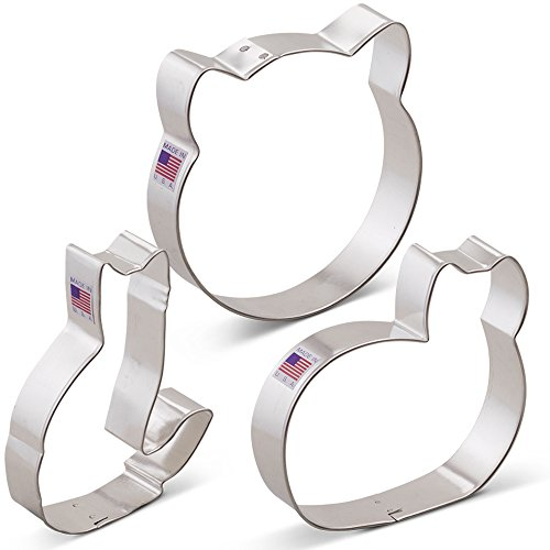 Kitty Cat Cookie Cutter Set - 3 piece - Cat Face, Sitting Cat and Curled Cat - Ann Clark - Tin Plated Steel