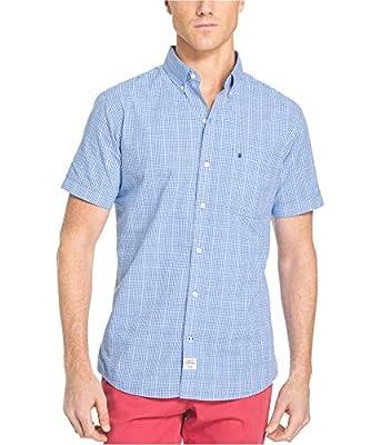 IZOD Men's Dockside Chambray Print Short Sleeve Shirt (Big & Tall and Tall Slim)