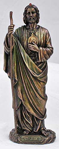 St Jude Statue, lightly hand-painted cold cast bronze, 8