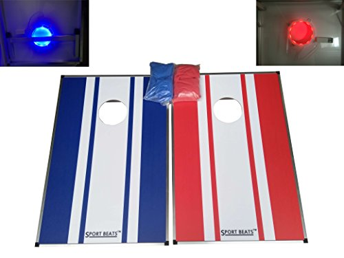 SPORT BEATS All Waterproof Premium Cornhole Toss Game 2' X 3' Tailating Size, 8 Weather Resistance Bags Included,Fun For All Family (3' Go Video)