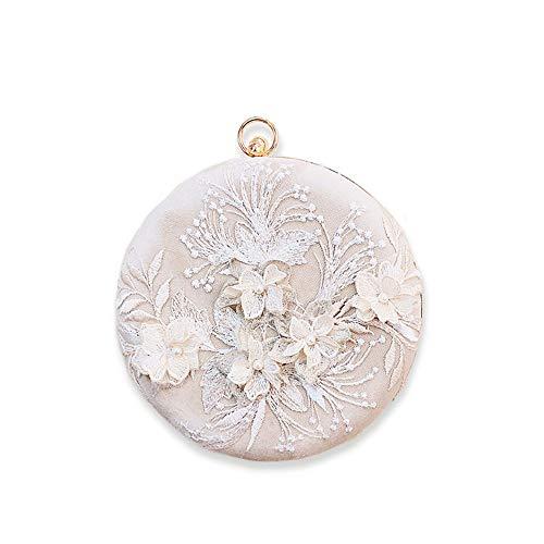 Womens Flower Vintage Clutch Bag Designer Evening Handbag,Lady Party Clutch Purse, Great Gift Choice (Beige-Embroidery Big Round)
