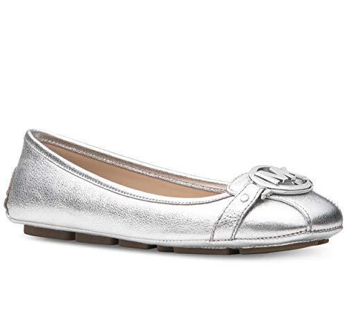Michael Michael Kors Fulton Moc Metallic Silver Leather Flat Shoes (9)