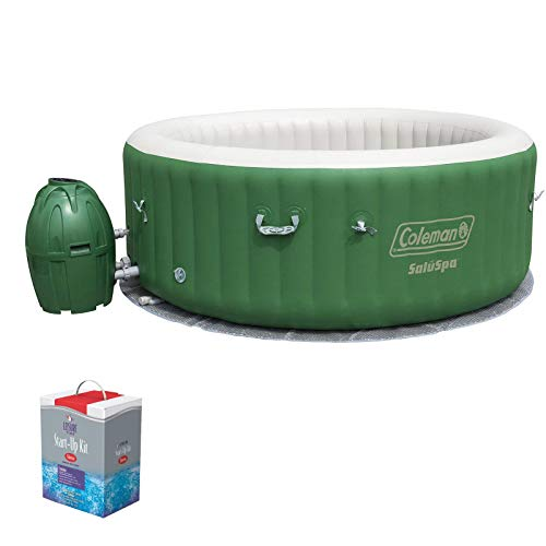 (Coleman SaluSpa 6 Person Inflatable Outdoor Spa Hot Tub w/Chlorine Starter Kit)