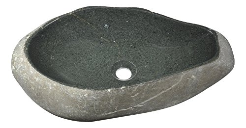 (ANZZI Unkindled Modern Exotic River Stone Round Vessel Bathroom Basin Sink in Dark Grey | Lavatory Top Mount Installation Oval Natural Rich Detailed Sink | LS-AZ160)