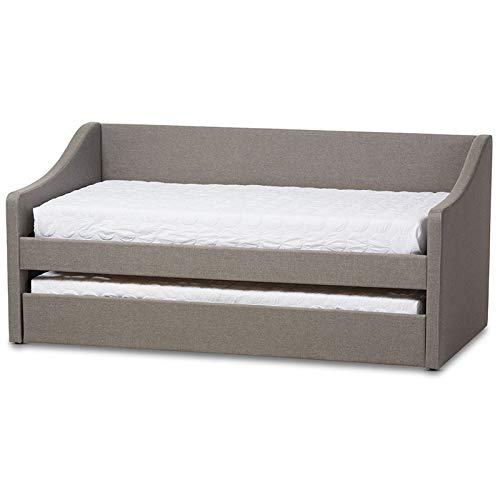 (Baxton Studio Contemporary Daybed with Guest Trundle in Gray)