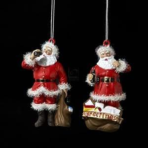 Kurt Adler Coca Cola Santa Blow Mold Ornament Set OF 2