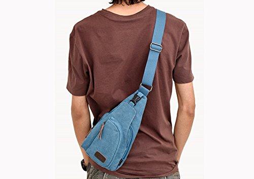RETON Männer Casual Kleine Brust Tasche Sport Tasche Multifunktions Outdoor Messenger Brust Rucksack (Schwarz) Blau