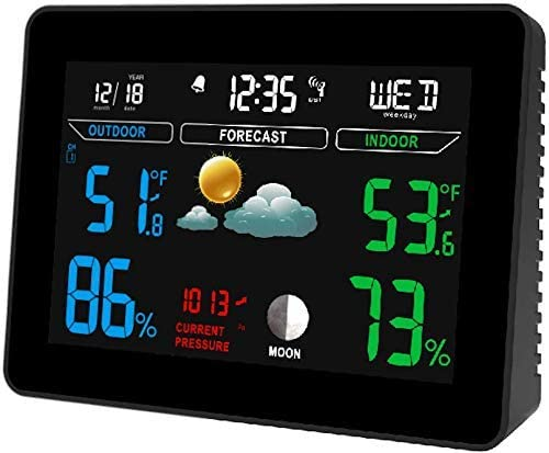 Estación Meteorológica Digital, con Reloj de Control de Sensor al Aire Libre, Termómetro de Temperatura Interior y Exterior, Pantalla Fácil de Leer para Casa Jardín: Amazon.es: Hogar