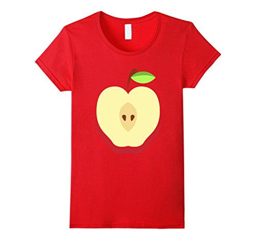 Cheap Easy Womens Halloween Costumes (Womens Apple Costume T-Shirt - Easy Cheap Halloween Costume Fruit XL Red)