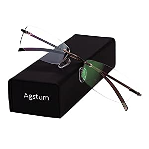 Agstum Pure Titanium Rimless Glasses Prescription Eyeglasses Rx (Gray, 53)