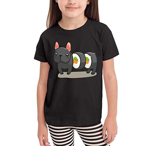 HTUAEUEHRH Frenchie Sushi Roll Costume Kids Short Sleeve Shirt T-Shirt Black -