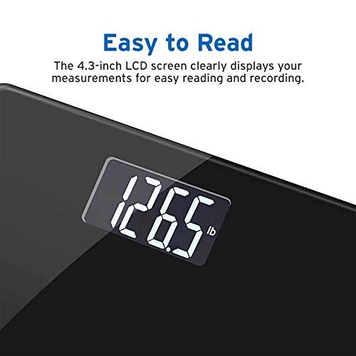 Black LCD 400 lbs Carbon Fiber Glass Bathroom Scale Backlit Digital Display