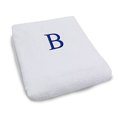 Terry Lounge Cover - Superior 100% Cotton Lounge Chair Cover with Personalized Monogrammed Letters, Thick, Super Soft, Plush and Highly Absorbent Cotton Terry Towel, Bright White - B