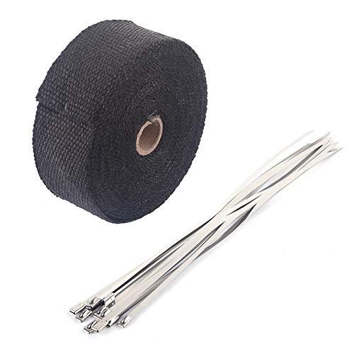 Uitlaat Heat Wrap, 10m x 50mm Rol Uitlaat Heat Pipe Wrap Motorbike Pijp Header Heat Wrap Kit met 10 Fitting Kabelbinders