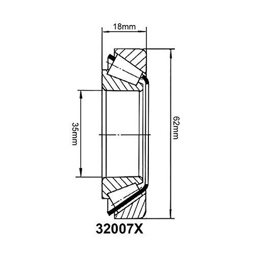 32007X Kegelrollenlager Kegelrollen, Bohrung 35 mm, Außendurchmesser 62 mm, Stärke 18 mm