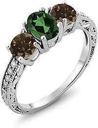 1.84 Ct Oval Emerald Envy Mystic Topaz Brown Smoky Quartz 925 Sterling Silver Ring
