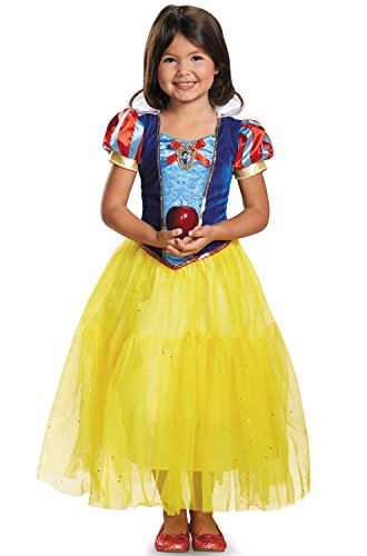 Disguise Deluxe Disney Princess Snow White Costume, One Color, Small/4-6X (7 Dwarfs Halloween Costume)