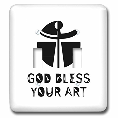 3dRose Alexis Design - Christian - Modernist cross, the text May God Bless Your Art on white - Light Switch Covers - double toggle switch (lsp_286206_2) by 3dRose
