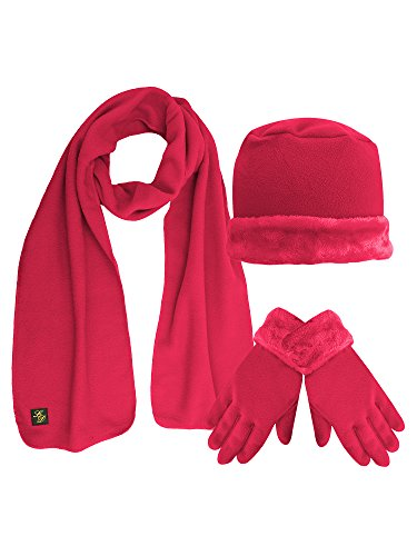 Hot Pink Plush Fur Trim Fleece 3 Piece Hat Scarf & Glove Set