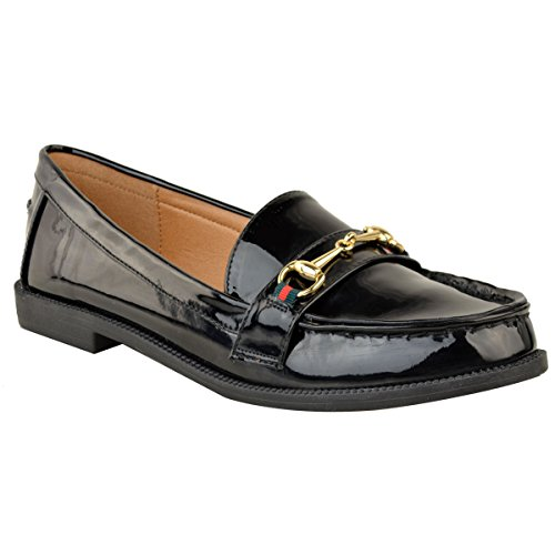 Black Fashion Womens Size School Office Heel Flat Smart Detail Patent Thirsty Gold Loafers Shoes qq1a7nr