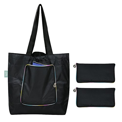 Reusable Shopping Grocery Tote Bag with Colorful Three-side Zipper,Collapsible Beach Travel Tote Bag, Pack of 2, Black (Zipper Polyester Tote Bag)